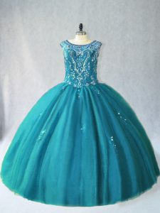 Scoop Sleeveless Lace Up Quinceanera Dresses Teal Tulle