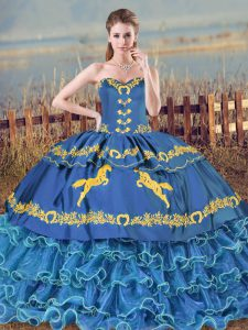 Blue Sweetheart Lace Up Ruffled Layers 15th Birthday Dress Brush Train Sleeveless