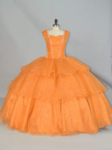 Orange Sleeveless Beading and Ruffled Layers and Ruching Floor Length Sweet 16 Dress