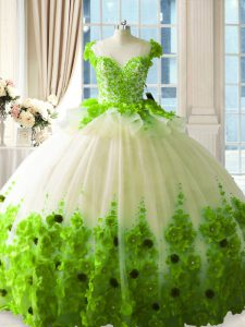 Glamorous Ball Gowns Tulle Scoop Sleeveless Hand Made Flower Floor Length Zipper Ball Gown Prom Dress