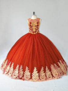 Flare Rust Red Sweet 16 Dress Sweet 16 and Quinceanera with Appliques Scoop Sleeveless Lace Up