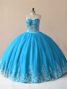 Clearance Baby Blue Tulle Lace Up 15 Quinceanera Dress Sleeveless Floor Length Embroidery