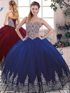 Fashion Tulle Sweetheart Sleeveless Lace Up Beading and Embroidery 15 Quinceanera Dress in Royal Blue
