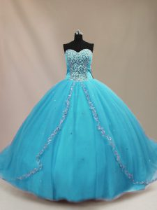 New Style Aqua Blue Sleeveless Tulle Court Train Lace Up Vestidos de Quinceanera for Sweet 16 and Quinceanera