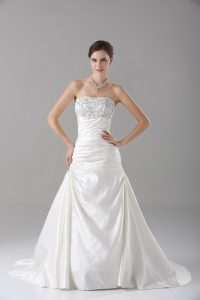 White A-line Strapless Sleeveless Satin Brush Train Lace Up Beading Wedding Dresses