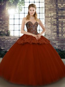 Eye-catching Rust Red Ball Gowns Sweetheart Sleeveless Tulle Floor Length Lace Up Beading and Appliques Quinceanera Dress