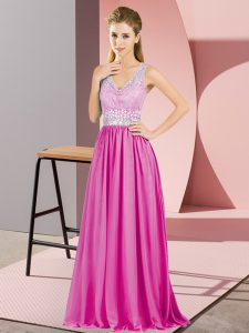 Sleeveless Chiffon Criss Cross Prom Dresses in Hot Pink with Beading and Lace