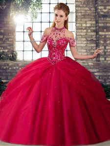 Attractive Brush Train Ball Gowns Sweet 16 Dresses Coral Red Halter Top Tulle Sleeveless Lace Up