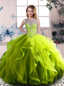 Fine Olive Green Ball Gowns Scoop Sleeveless Tulle Floor Length Lace Up Beading and Ruffles Sweet 16 Dresses