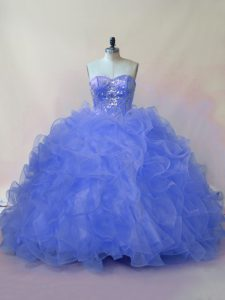 Admirable Sleeveless Lace Up Floor Length Beading and Ruffles Quince Ball Gowns