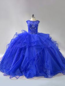 Trendy Royal Blue Ball Gowns Scoop Sleeveless Organza Brush Train Lace Up Beading and Ruffles Vestidos de Quinceanera