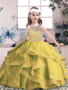 High End Scoop Sleeveless Tulle Pageant Dress for Teens Beading and Ruffles Lace Up