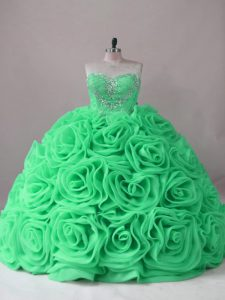 Colorful Ball Gowns Beading and Ruffles Vestidos de Quinceanera Lace Up Fabric With Rolling Flowers Sleeveless