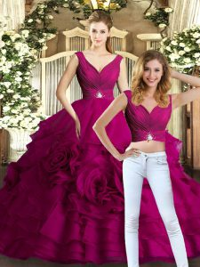Best Selling V-neck Sleeveless Backless Quince Ball Gowns Fuchsia Organza