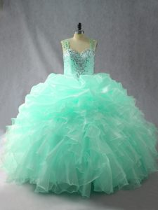 Straps Sleeveless 15th Birthday Dress Floor Length Beading and Ruffles and Pick Ups Apple Green Organza
