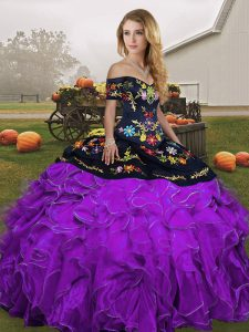 Off The Shoulder Sleeveless Lace Up Quinceanera Gown Black And Purple Organza