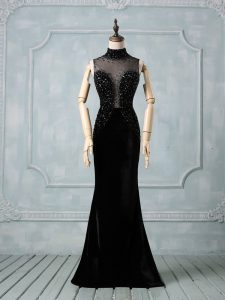 Stunning High-neck Sleeveless Prom Party Dress Brush Train Beading Black Elastic Woven Satin