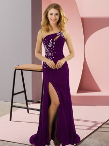 Delicate One Shoulder Sleeveless Homecoming Dresses Sweep Train Beading Purple Elastic Woven Satin