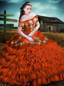 Great Rust Red Off The Shoulder Neckline Embroidery and Ruffles 15 Quinceanera Dress Sleeveless Lace Up