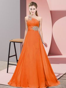 Ideal Orange Red One Shoulder Lace Up Beading and Ruching Junior Homecoming Dress Brush Train Sleeveless