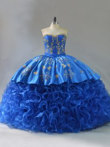 Exceptional Lace Up Quinceanera Dress Royal Blue for Sweet 16 and Quinceanera with Embroidery and Ruffles