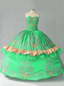 Green Sleeveless Organza Lace Up Sweet 16 Dresses for Sweet 16 and Quinceanera