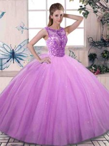 Lilac Lace Up Sweet 16 Dresses Beading Sleeveless Floor Length