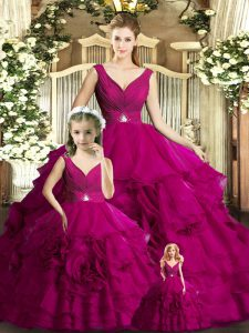 Fuchsia Organza Backless Quince Ball Gowns Sleeveless Floor Length Beading and Ruffles