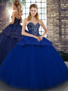 Noble Beading and Appliques Sweet 16 Dresses Royal Blue Lace Up Sleeveless Floor Length