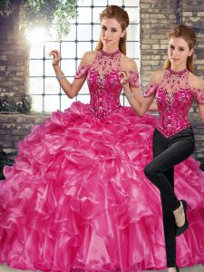Fuchsia Halter Top Lace Up Beading and Ruffles Quinceanera Gowns Sleeveless