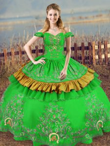 Satin Off The Shoulder Sleeveless Lace Up Embroidery Quinceanera Gown in Green