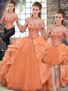 Halter Top Sleeveless Sweet 16 Dresses Floor Length Beading and Ruffles Orange Organza