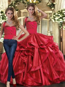 Luxurious Floor Length Red Ball Gown Prom Dress Halter Top Sleeveless Lace Up