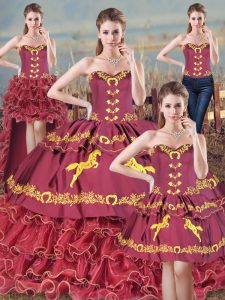 Embroidery and Ruffles Sweet 16 Quinceanera Dress Burgundy Lace Up Sleeveless Brush Train