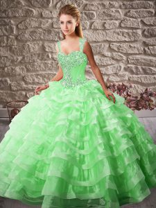 Comfortable Straps Sleeveless Court Train Lace Up Sweet 16 Dresses Green Organza