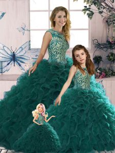 Fashion Peacock Green Quinceanera Gowns Military Ball and Sweet 16 and Quinceanera with Beading and Ruffles Scoop Sleeveless Lace Up
