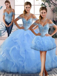 Blue Off The Shoulder Neckline Beading and Ruffles Quinceanera Dress Sleeveless Lace Up