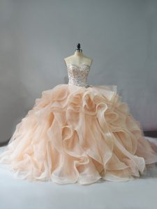 New Arrival Sweetheart Sleeveless Brush Train Lace Up Quinceanera Gown Champagne and Pink And White Organza