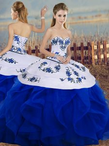 Popular Ball Gowns 15 Quinceanera Dress Royal Blue Sweetheart Tulle Sleeveless Floor Length Lace Up