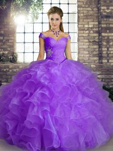 On Sale Floor Length Lace Up Sweet 16 Dress Lavender for Military Ball and Sweet 16 and Quinceanera with Beading and Ruffles