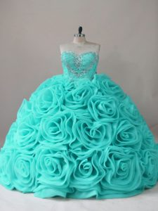 Colorful Aqua Blue Sweetheart Lace Up Beading Quinceanera Dresses Sleeveless