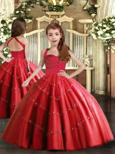Fashion Ball Gowns Winning Pageant Gowns Red Straps Tulle Sleeveless Floor Length Lace Up