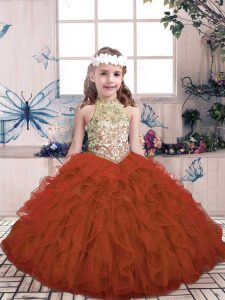 Floor Length Rust Red Pageant Dress Womens High-neck Sleeveless Lace Up