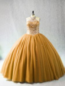 Designer Sleeveless Tulle Brush Train Lace Up Ball Gown Prom Dress in Gold with Beading
