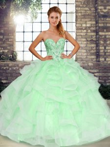 Glorious Sweetheart Sleeveless Tulle Sweet 16 Dresses Beading and Ruffles Lace Up