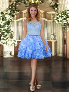 Spectacular Organza Sleeveless Mini Length Prom Party Dress and Lace and Ruffled Layers