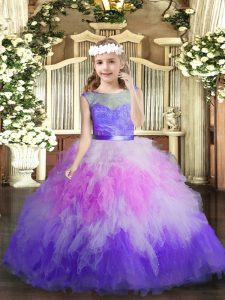 Multi-color Tulle Backless V-neck Sleeveless Floor Length Pageant Dress Toddler Lace and Ruffles