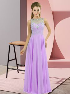 Superior Sleeveless Chiffon Floor Length Zipper Celebrity Prom Dress in Lavender with Beading