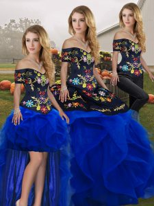 Three Pieces 15th Birthday Dress Royal Blue Off The Shoulder Tulle Sleeveless Floor Length Lace Up
