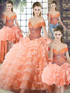 Dramatic Off The Shoulder Sleeveless Organza Quinceanera Gowns Beading and Ruffled Layers Brush Train Lace Up